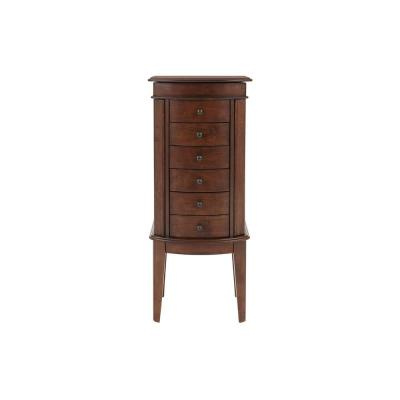 StyleWell 6 Drawer Walnut Finish Jewelry Armoire with Curved Detail (17 in W. X 40 in H.)