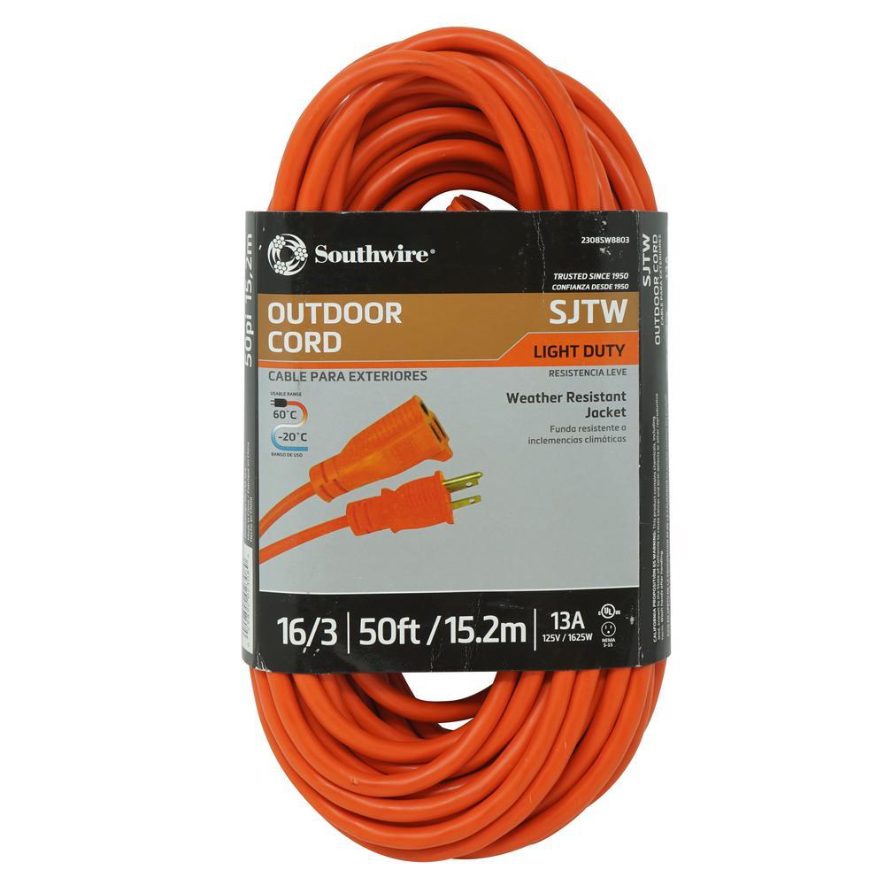 50 ft. 16/3 SJTW Outdoor Light-Duty Extension Cord