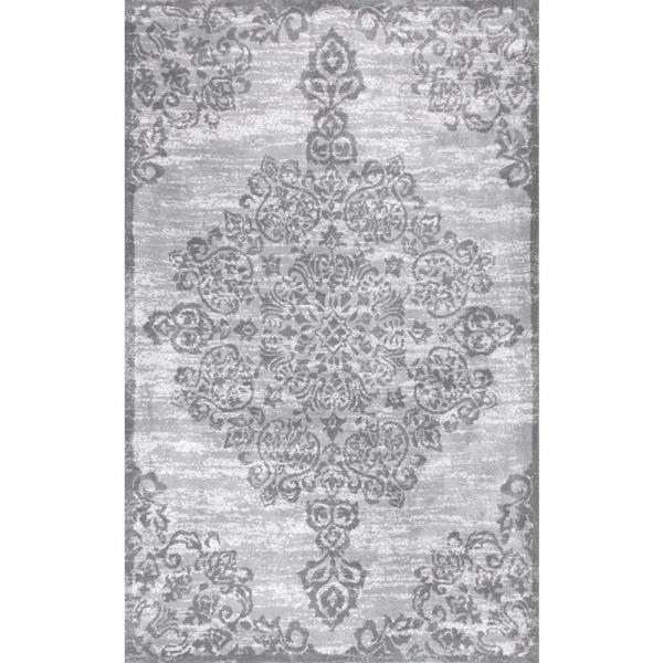 Alcala Distressed Floral Gray 8 ft. x 10 ft. Area Rug