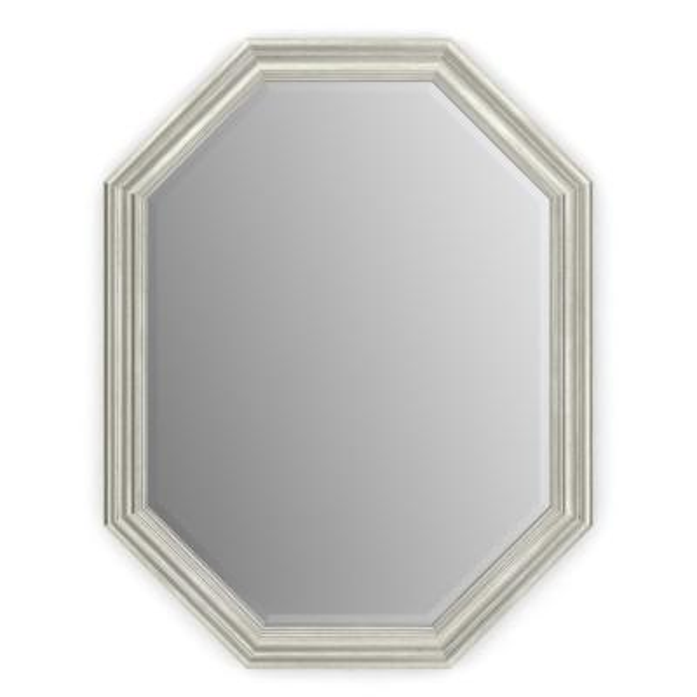 26 in. W x 34 in. H (M2) Framed Octagon Deluxe Glass Bathroom Vanity Mirror in Vintage Nickel