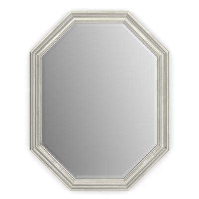 26 in. x 34 in. (M2) Octagonal Framed Mirror with Deluxe Glass and Flush Mount Hardware in Vintage Nickel