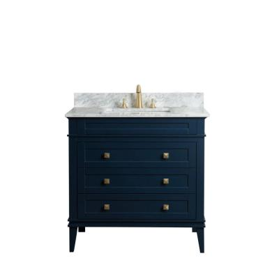 36 in. W x 22 in. D Bath Vanity in Navy Blue with Cararra Marble Vanity Top in White and Gray with White Basin
