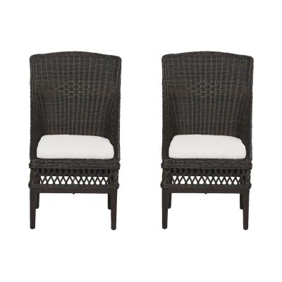 Woodbury Dark Brown Wicker Outdoor Patio Dining Chair with CushionGuard Chalk White Cushions (2-Pack)