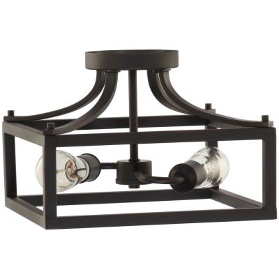 Boswell Quarter 12.5 in. 2-Light Distressed Black Semi-Flush Mount