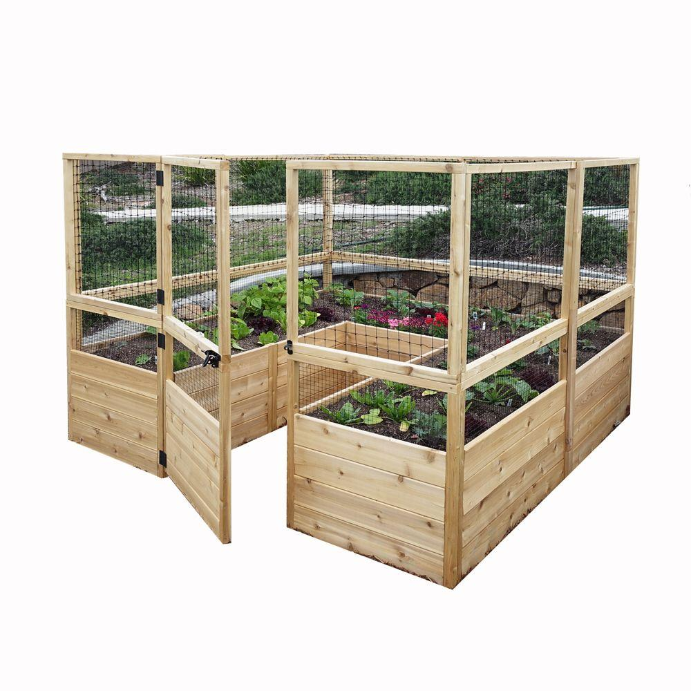 Outdoor living today 8 ft x 8 ft cedar raised garden bed for Home depot raised garden beds