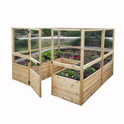8 ft. x 8 ft. Cedar Raised Garden Bed with Deer Fencing Kit