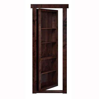 28 in. x 80 in. Flush Mount Assembled Alder Dark Stained Left-Hand Inswing Solid Core Interior Bookcase Door