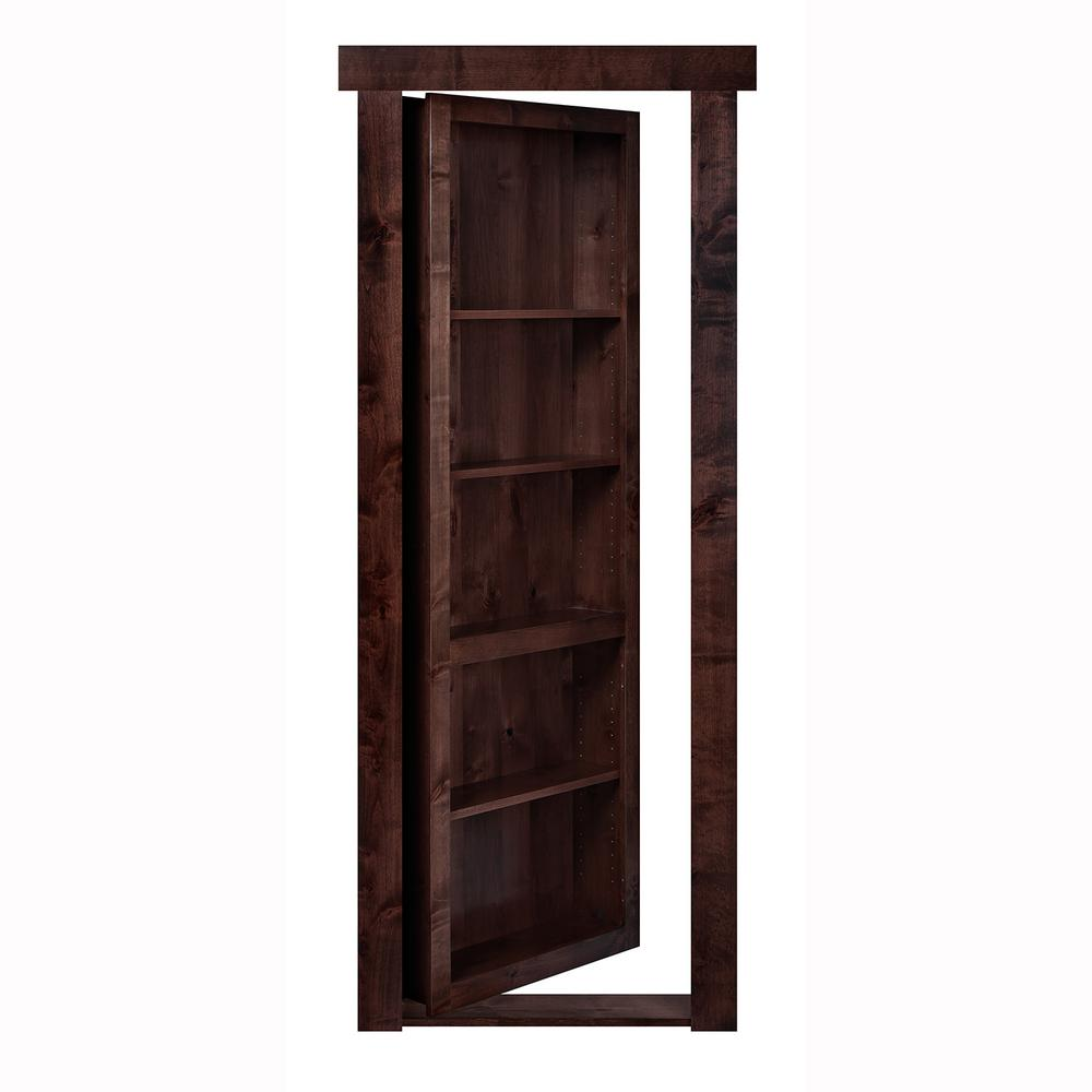 30 in. x 80 in. Flush Mount Assembled Alder Dark Brown