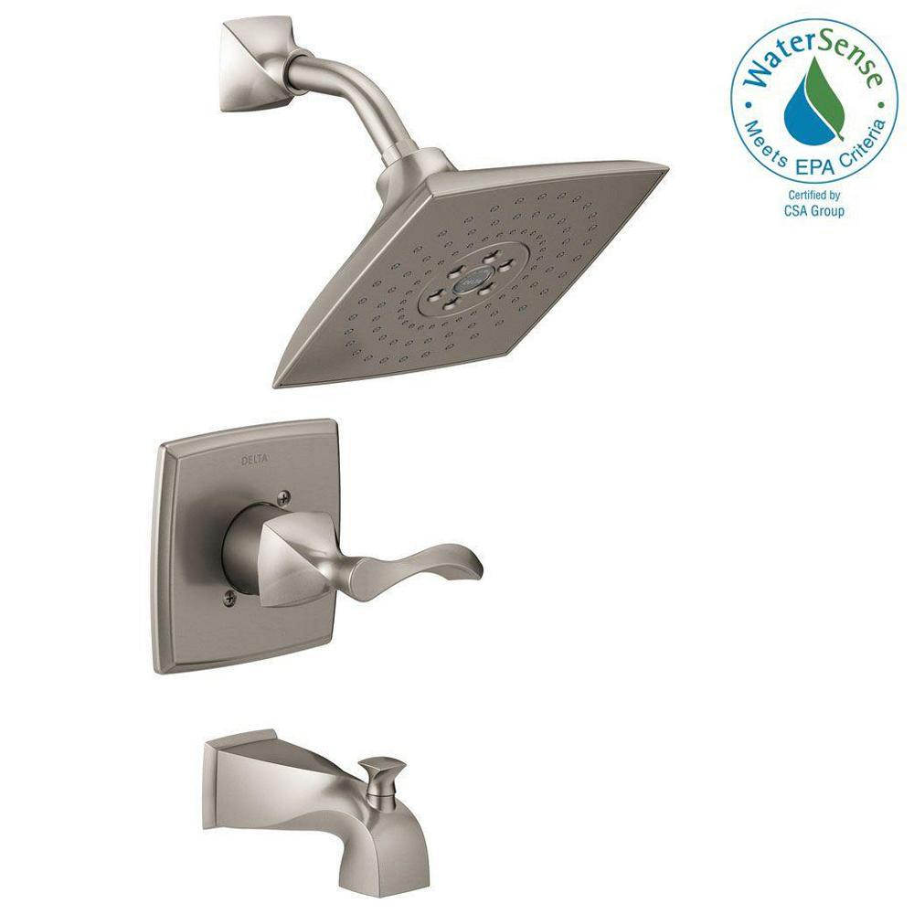 Everly 1-Handle 3-Spray Tub and Shower Faucet in SpotShield Brushed Nickel