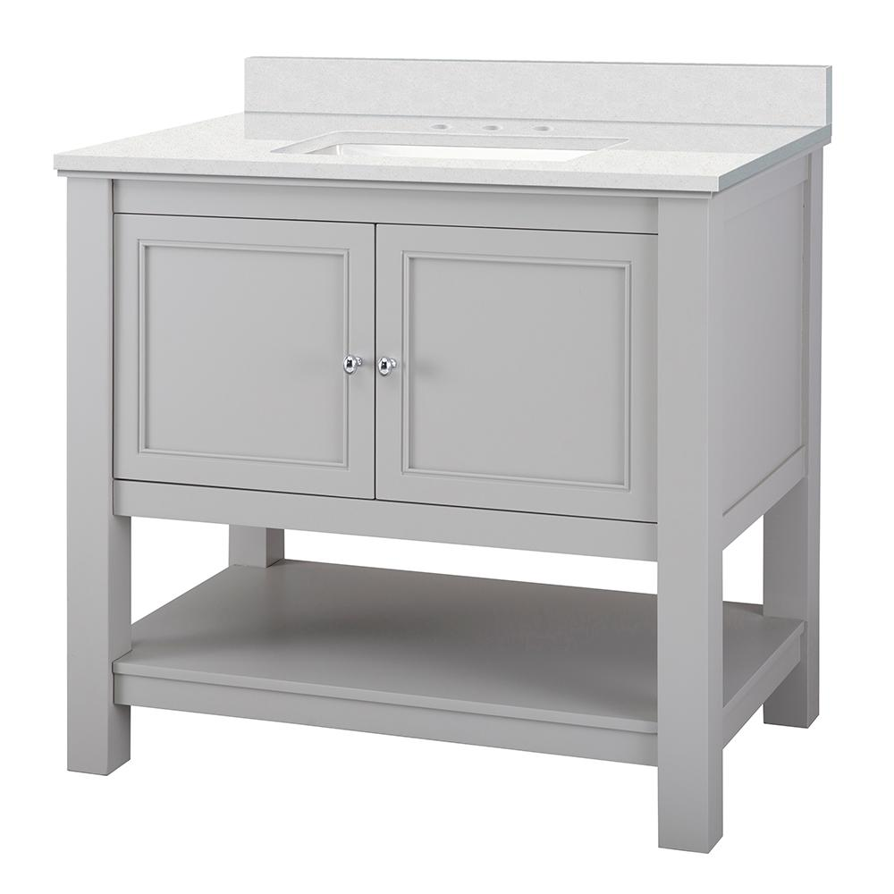 Home Decorators Collection Gazette 37 in. W x 22 in. D Vanity Cabinet in Grey with Engineered Marble Vanity Top in Snowstorm with White Sink was $679.0 now $475.3 (30.0% off)