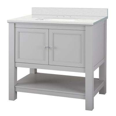Gazette 37 in. W x 22 in. D Vanity Cabinet in Grey with Engineered Marble Vanity Top in Snowstorm with White Sink