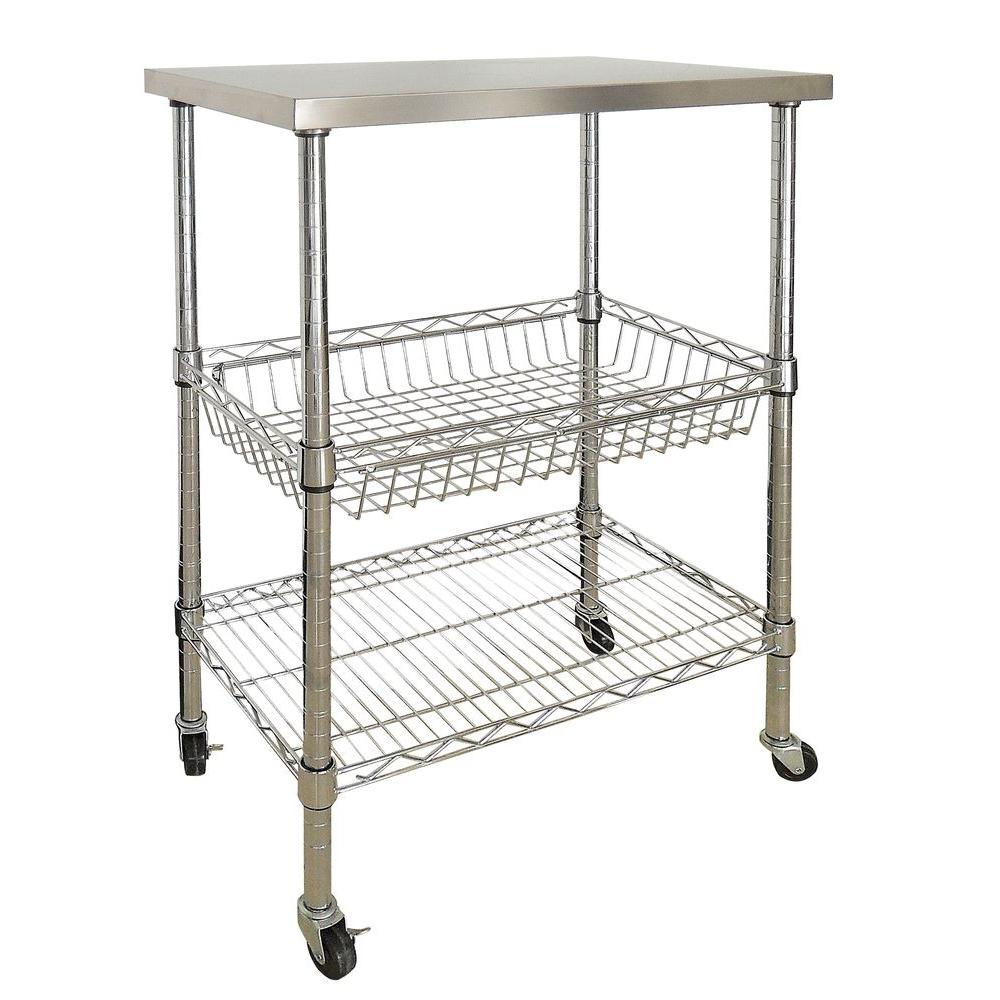 Sandusky 24 in. W Wire Utility Cart with Stainless Steel top