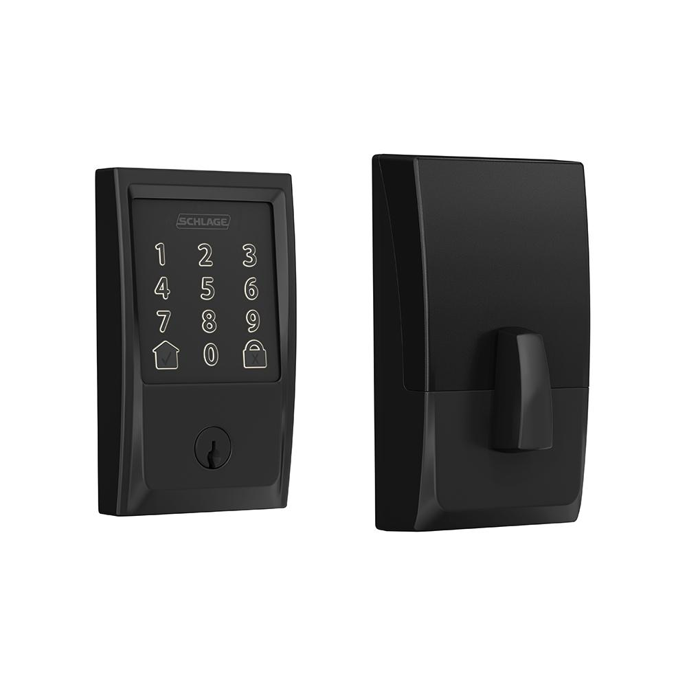 Schlage Century Encode Smart Wifi Door Lock with Alarm in Matte Black
