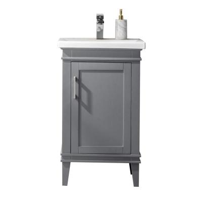 Avery 20 in. W x 15.7 in. D Bath Vanity in Gray with Porcelain Vanity Top in White with White Basin