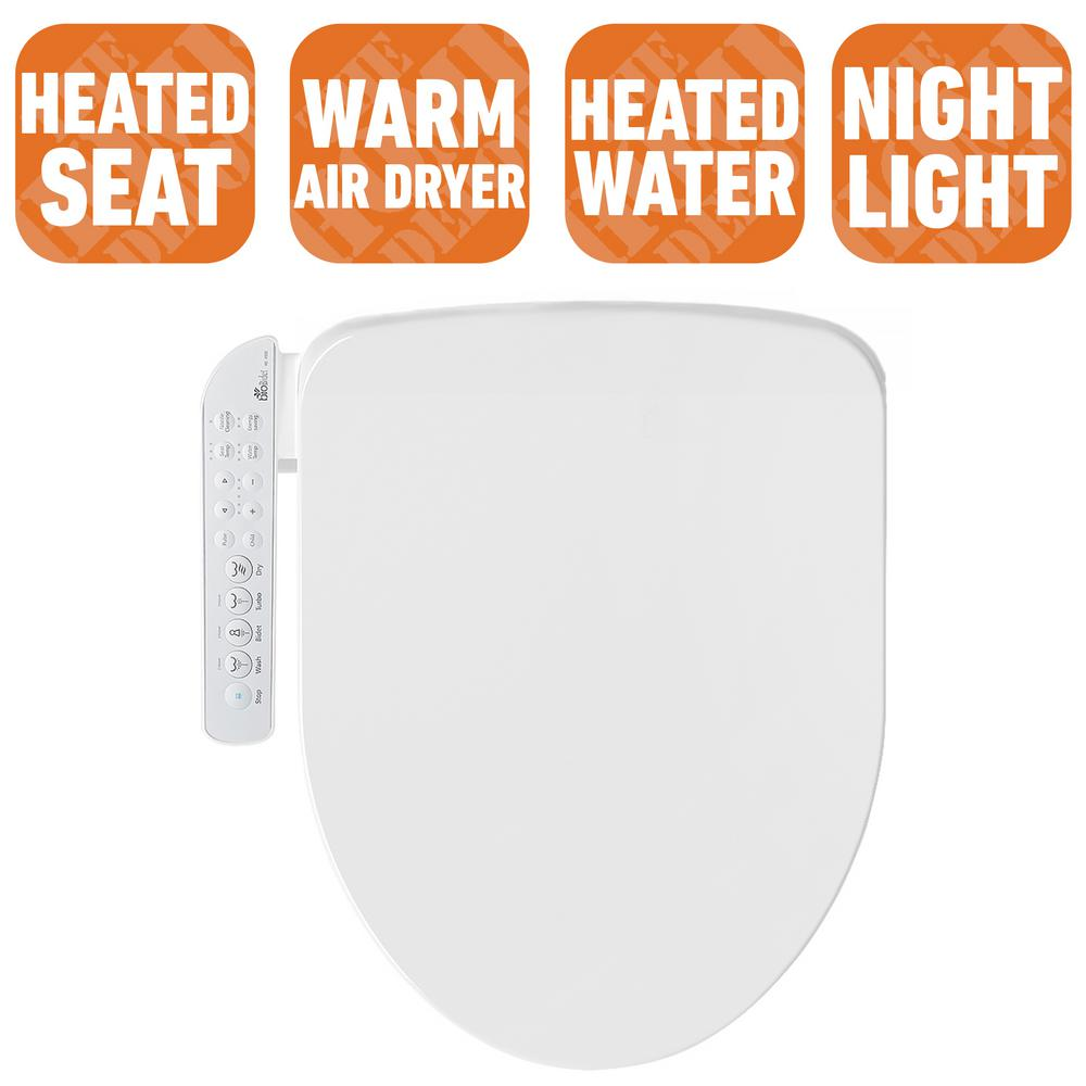 Biobidet Electric Bidet Seat For Round Toilets In White With Fusion Heating Technology Hd 7000r The Home Depot