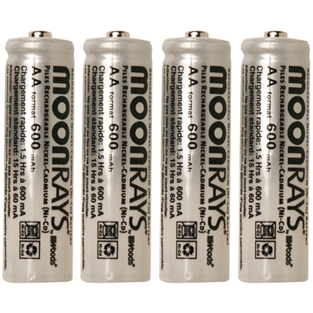 Moonrays Rechargeable 600 mAh NiCd AA Batteries for Solar-Powered