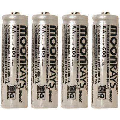 Rechargeable 600 mAh NiCd AA Batteries for Solar-Powered Units (4-Pack)