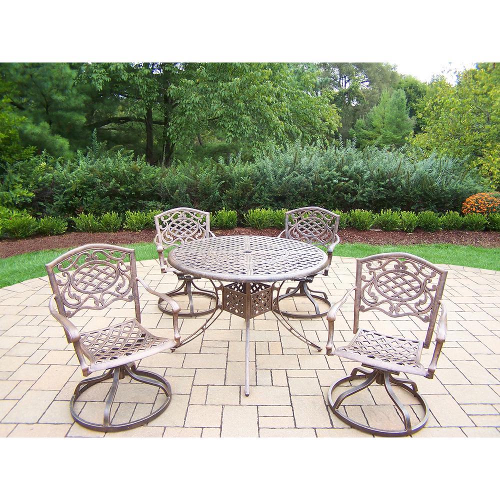 Elite Mississippi Antique Bronze 5-Piece Aluminum Outdoor Dining Set