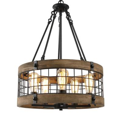 Eliora Adjustable 5-Light Rustic Farmhouse Dining Room Wood Chandelier with Drum Grid Black Basket Accents