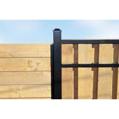3 in. x 3 in. x 10 ft. 4 in. Black Powder Coated Aluminum Fence Post Includes Post Cap