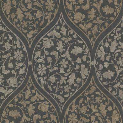 8 in. x 10 in. Adelaide Charcoal Ogee Floral Wallpaper Sample