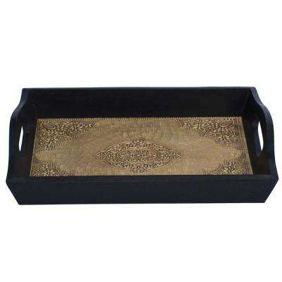 Handmade Wood Frame Brown and Black Serving Tray with Embossed Brass Work