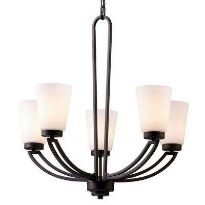 Somerset 5-Light Oil Rubbed Bronze Chandelier with Flat Opal Glass Shade