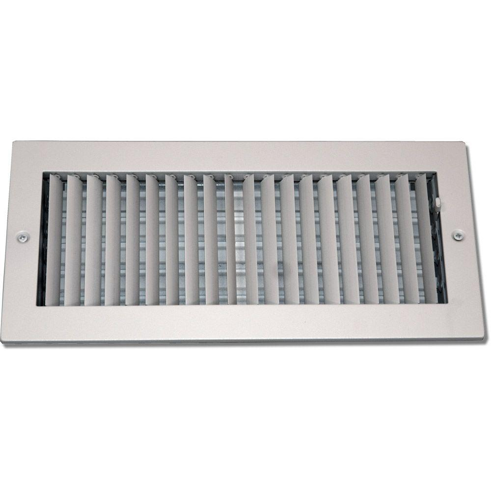 6 in. x 10 in. Steel Ceiling or Wall Register, White