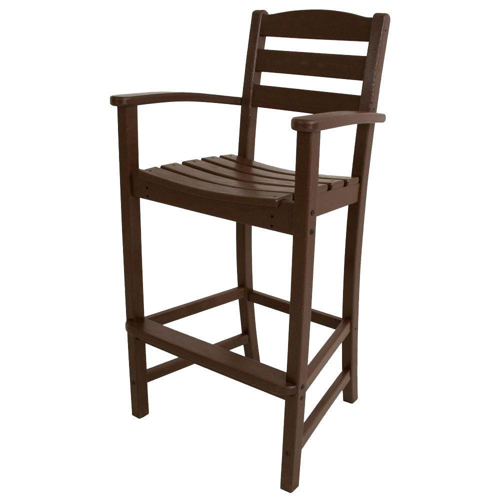 La Casa Cafe Mahogany Plastic Outdoor Patio Bar Arm Chair