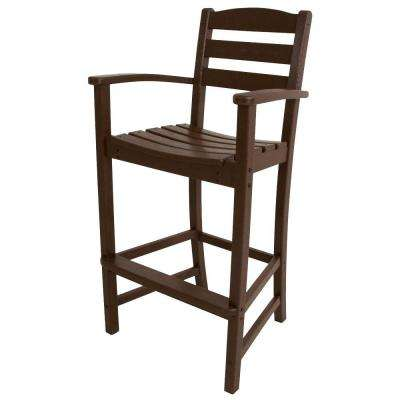 La Casa Cafe Mahogany Plastic Outdoor Patio Bar Arm Chair