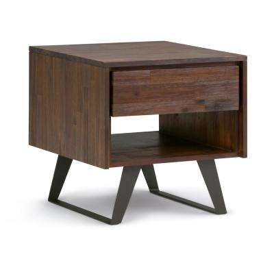 Lowry Distressed Charcoal Brown Square End Table