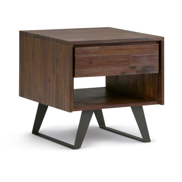 Lowry Solid Acacia Wood And Metal 22 In Wide Square Modern End Side Table Distressed Charcoal Brown