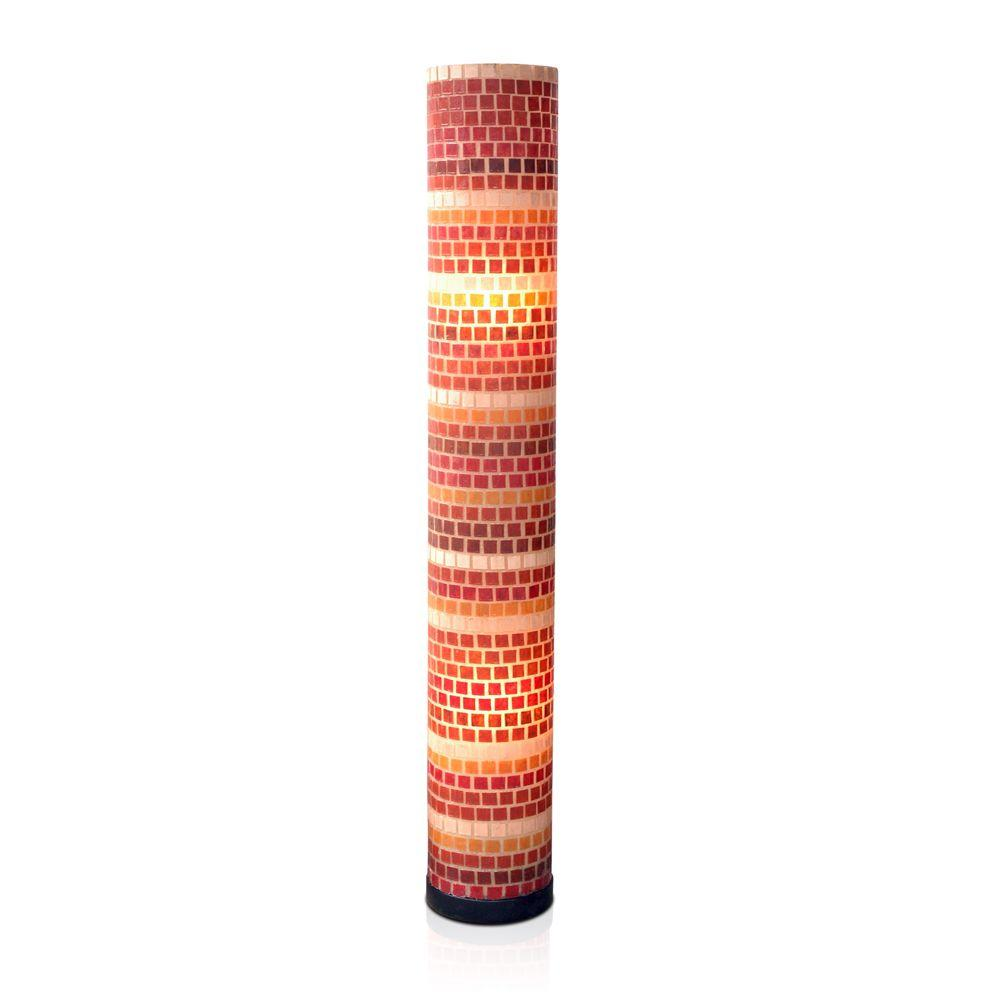 Jeffan Tuscan Fiberglass Mosaic (Red/Orange/Natural) Std Lamp