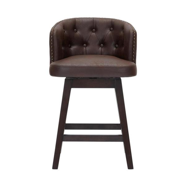Bardell Swivel Upholstered Counter Stool with Brown Faux Leather Seat and Barrel Back  (20 in. W x 35.5 in. H)