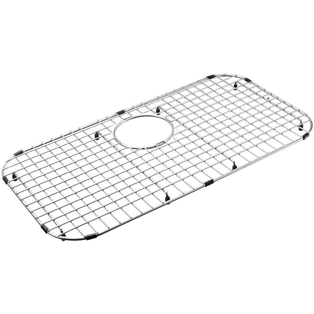 25.98 in. x 13.98 in. Rear Drain Heavy-Duty Stainless Steel Sink Protector