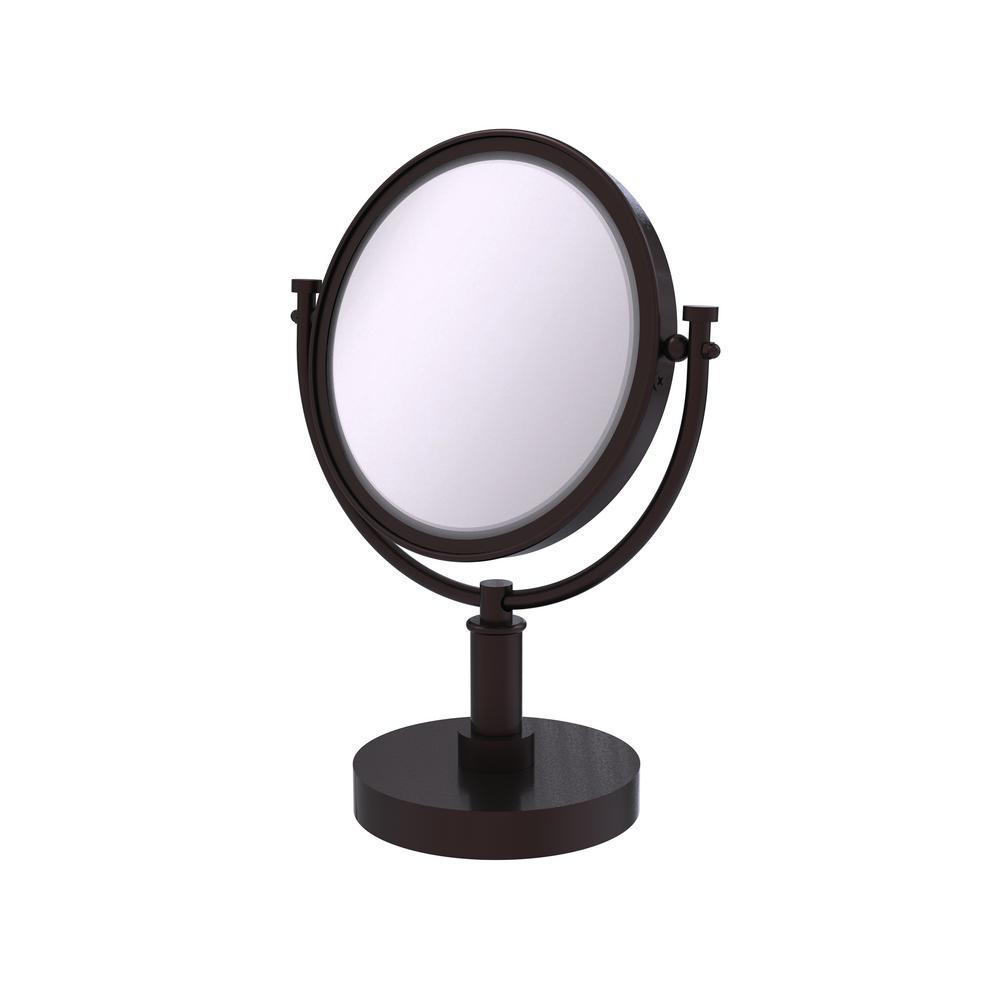 15 in. x 8 in. Vanity Top Make-Up Mirror 5x Magnification in Antique Bronze