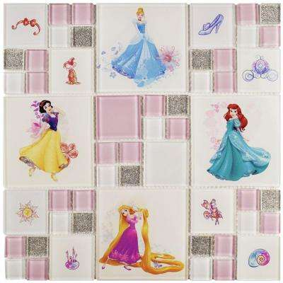 Princesses Ice White 11-3/4 in. x 11-3/4 in. x 5 mm Glass Mosaic Tile