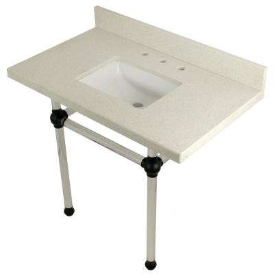 Square-Sink Washstand 36 in. Console Table in White Quartz with Acrylic Legs in Matte Black