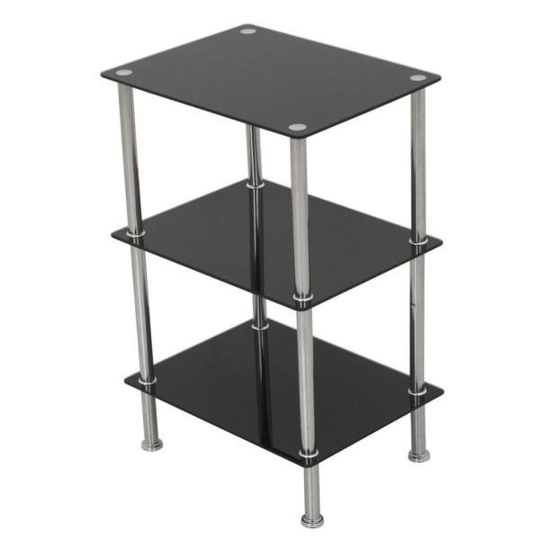 669a753fe1 15.7 in. W x 11.8 in. D Small 3-Tier Shelving Unit in Black Glass and  Chrome. by AVF