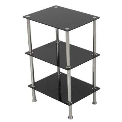 15.7 in. W x 11.8 in. D Small 3-Tier Shelving Unit in Black Glass and Chrome