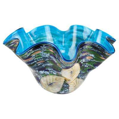Royalty Murano Style Art Glass 15 in. Floppy Centerpiece Bowl