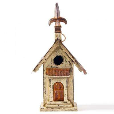 13.11 in. H Distressed Solid Wood Birdhouse(KD)