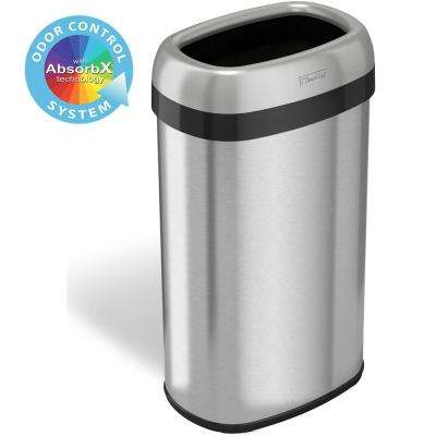 16 Gal. Oval Open Top Commercial Grade Stainless Steel Trash Can and Recycle Bin, 12 in. Opening with Dual-Deodorizer