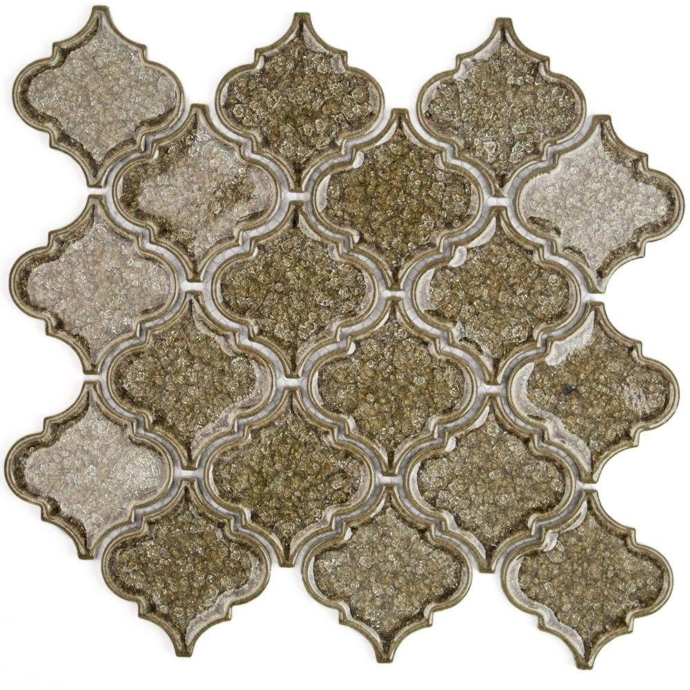 Ivy Hill Tile Roman Selection Iced Gold Lantern Glass Mosaic Tile - 3 in. x 6 in. Tile Sample