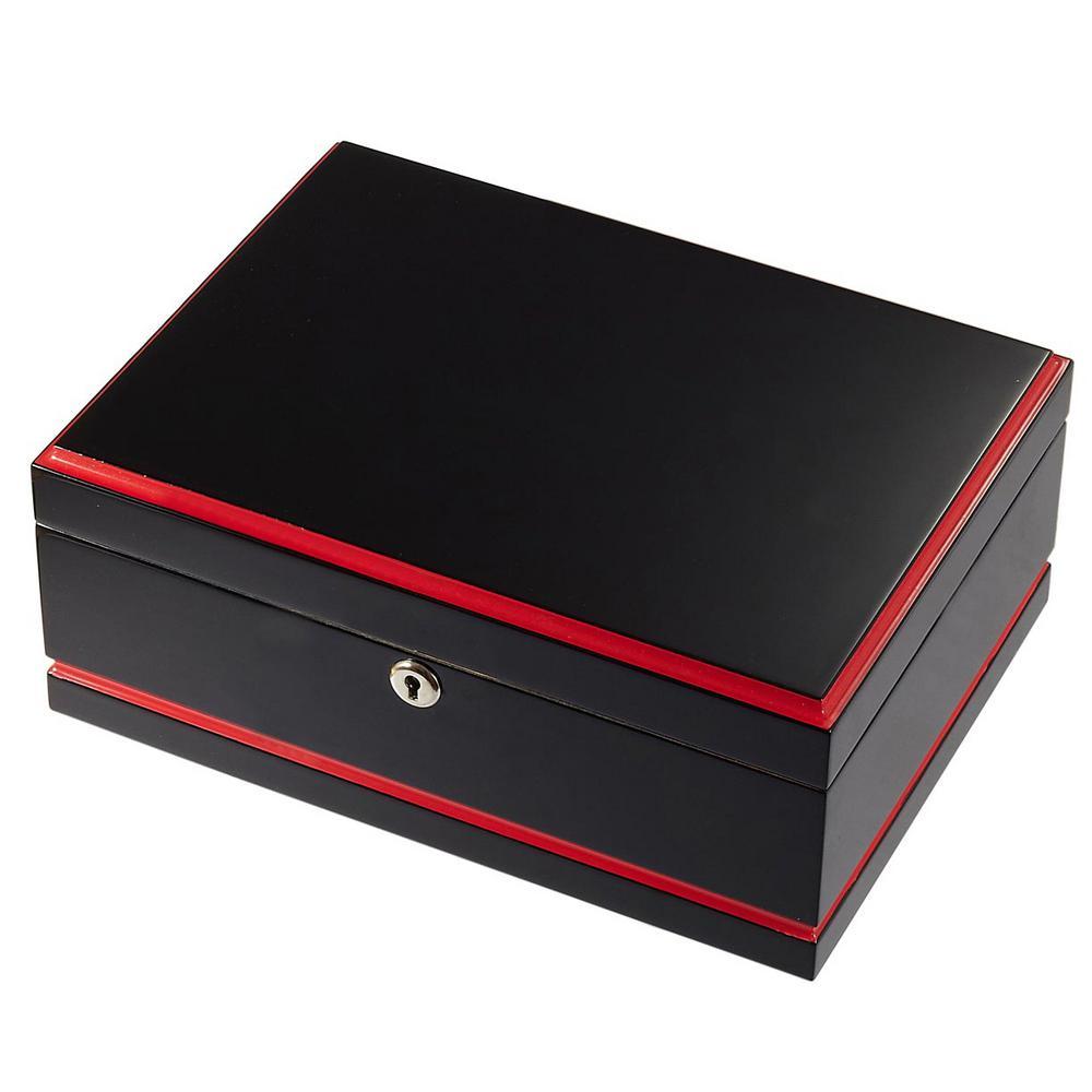 Hydra Black and Red Cigar Humidor