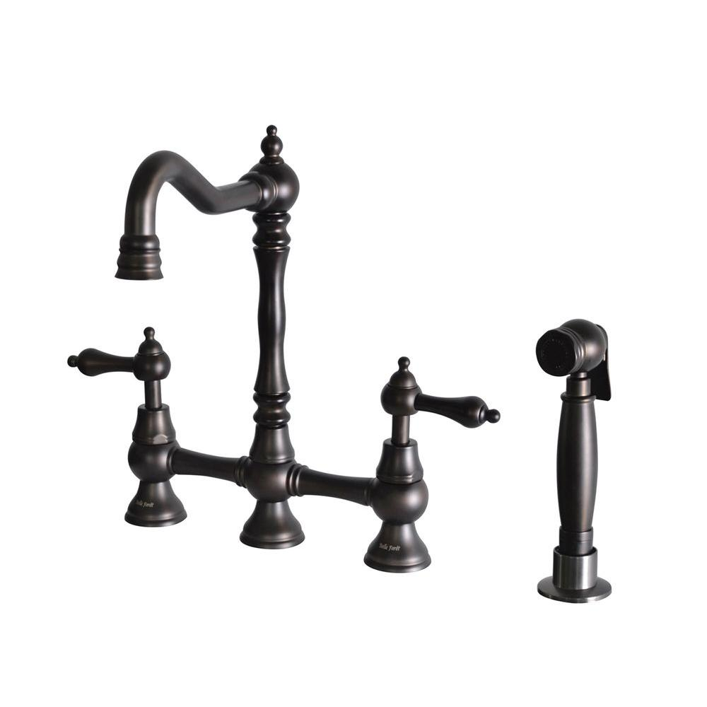 Kitchen Faucet With Side Sprayer Upc 650053016291 Product Image For Belle Foret 2 Handle High Arc Bridge