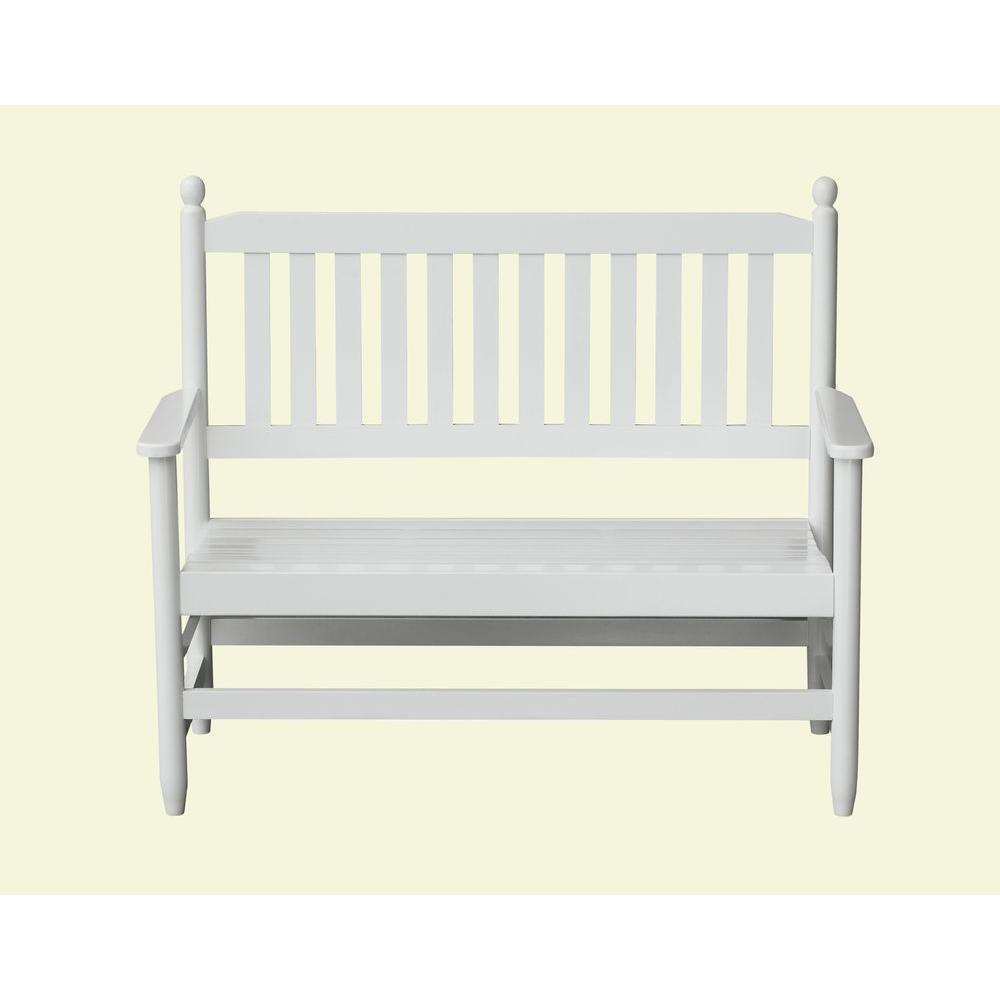 2 person white wood outdoor patio bench