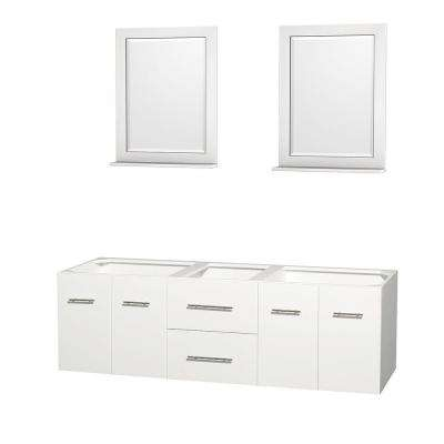 Centra 71 in. Double Vanity Cabinet with Mirror in White
