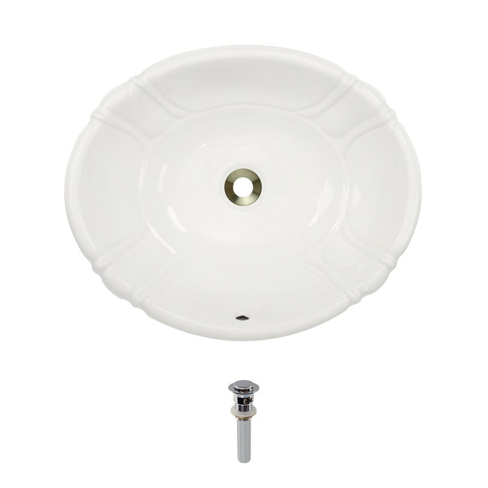 Dual-Mount Porcelain Bathroom Sink in Bisque with Pop-Up Drain in Chrome