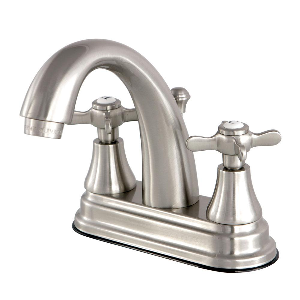 Kingston Brass English Cross 4 in. Centerset 2-Handle High-Arc Bathroom Faucet in Brushed Nickel